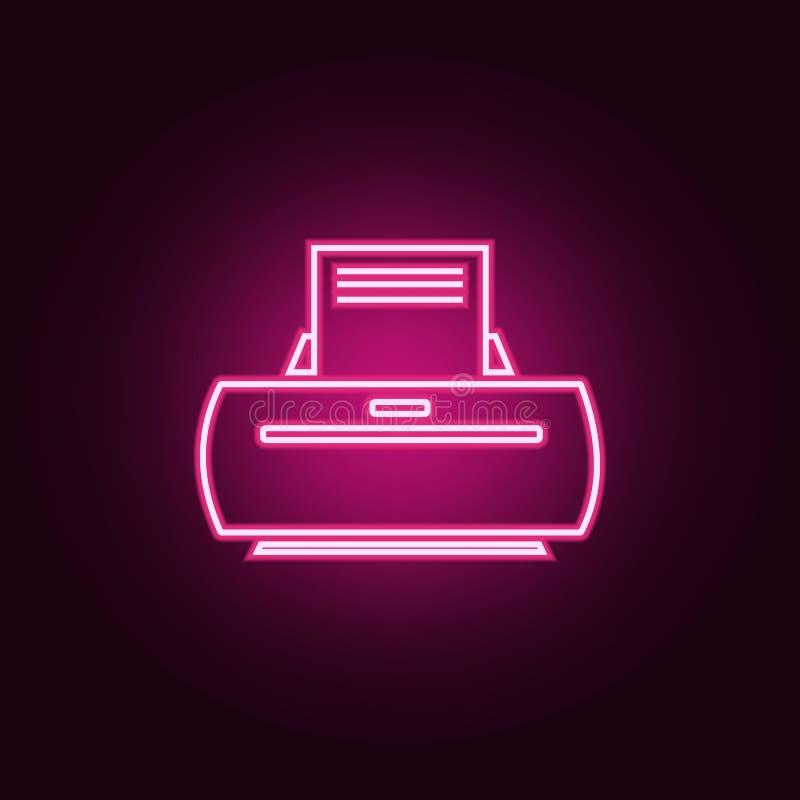 Icono de impresora Elementos de la web en los iconos de ne?n del estilo Icono simple para las p?ginas web, dise?o web, app m?vil, stock de ilustración