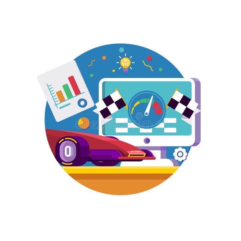 Icono de Internet del tráfico del web Explorador Web con la velocidad de la prueba del velocímetro de la conexión a internet libre illustration