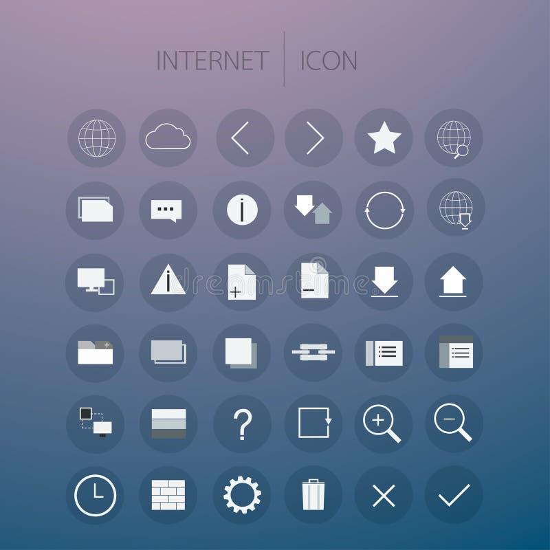Icono de Internet fijado en fondo ilustración del vector