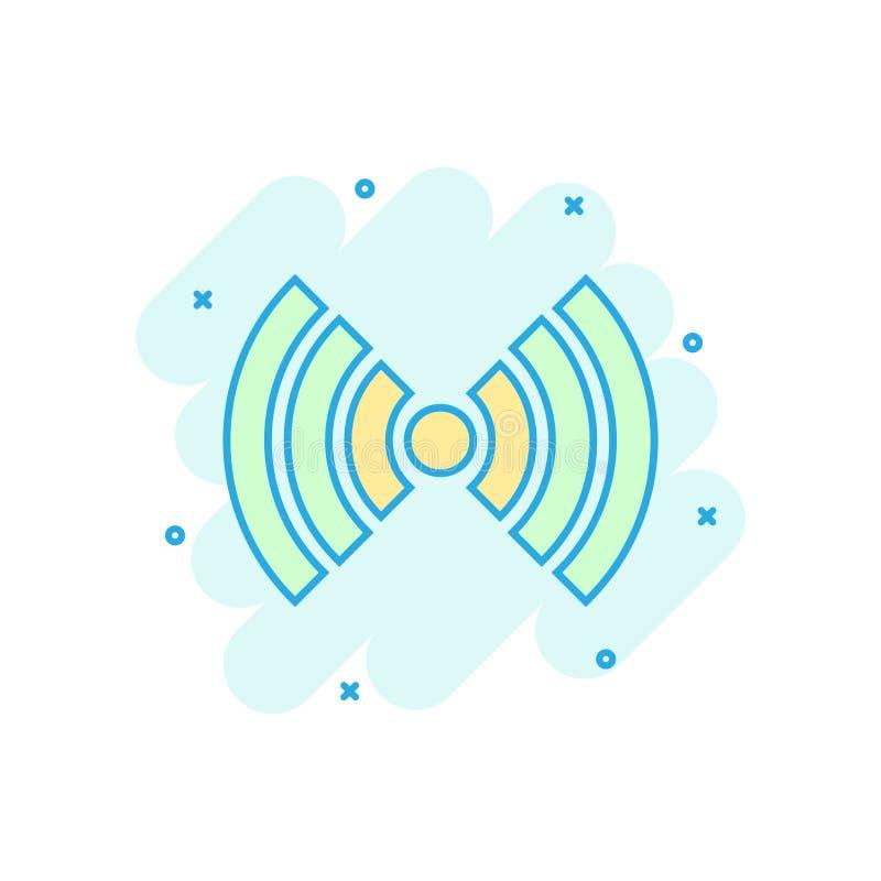 Icono de Internet de Wifi en estilo cómico Pictograma del ejemplo de la historieta del vector de la tecnología inalámbrica de Wi- stock de ilustración