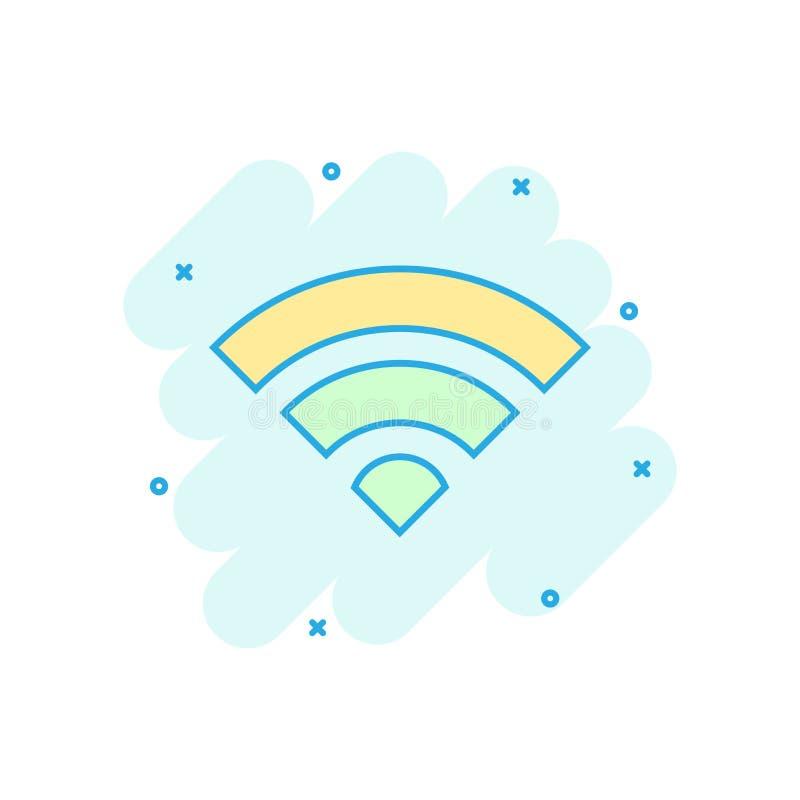 Icono de Internet de Wifi en estilo cómico Pictograma del ejemplo de la historieta del vector de la tecnología inalámbrica de Wi- ilustración del vector