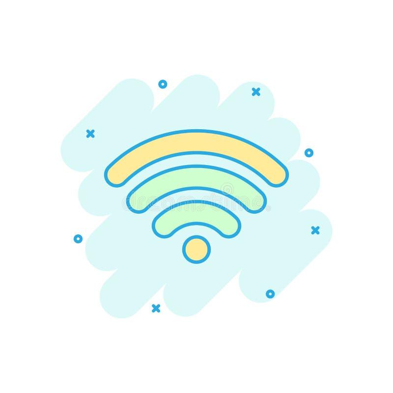 Icono de Internet de Wifi en estilo cómico Pictograma del ejemplo de la historieta del vector de la tecnología inalámbrica de Wi- libre illustration