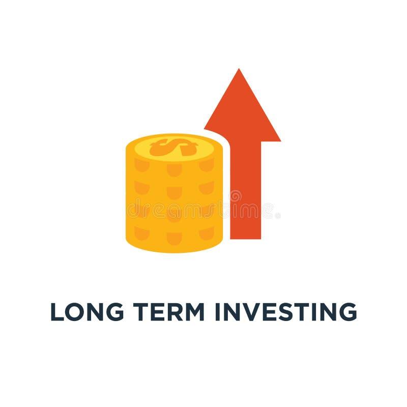 icono de inversión a largo plazo de la estrategia crecimiento de la renta, informe financiero de la mejora, más dinero, símbolo d stock de ilustración