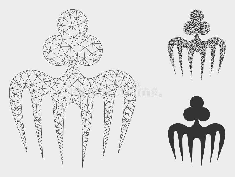 Icono de juego del mosaico del modelo y del triángulo de la malla del vector del monstruo del espectro 2.o libre illustration