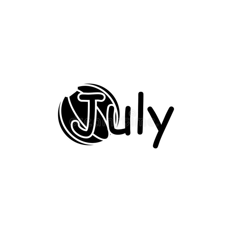 Icono de julio Nombre escrito del mes con diversos elementos referentes al icono del mes Icono superior del diseño gráfico de la  stock de ilustración