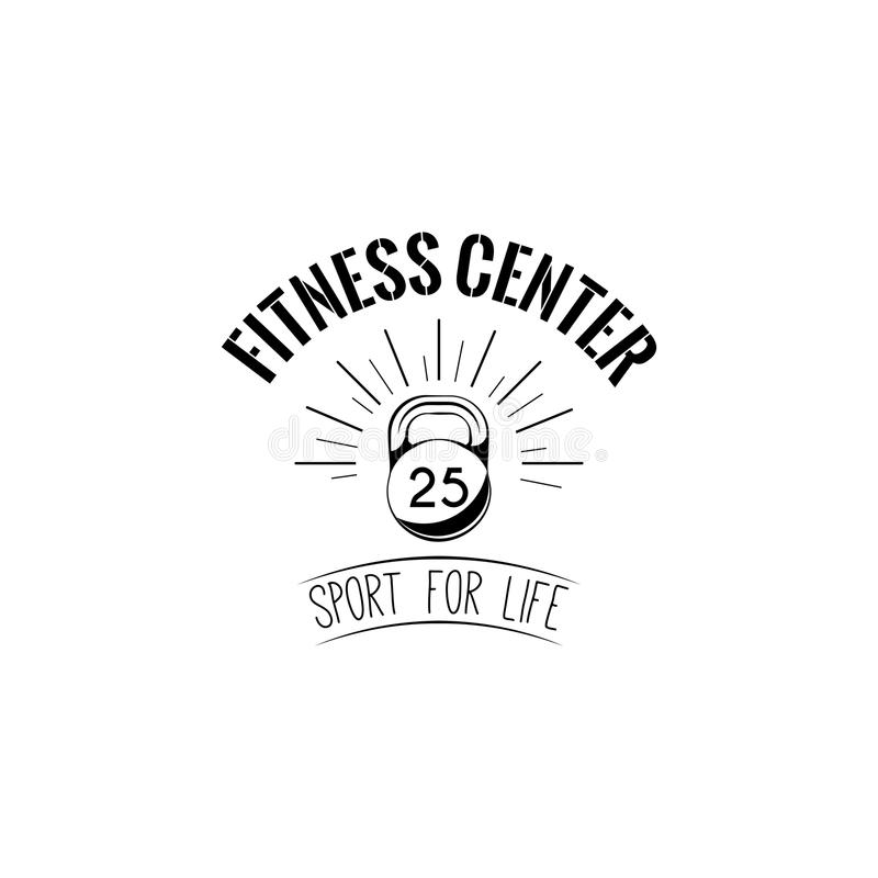 Icono de Kettlebell Emblema de la etiqueta del logotipo del centro de aptitud Muestra del deporte Deporte para la vida lettiring  ilustración del vector