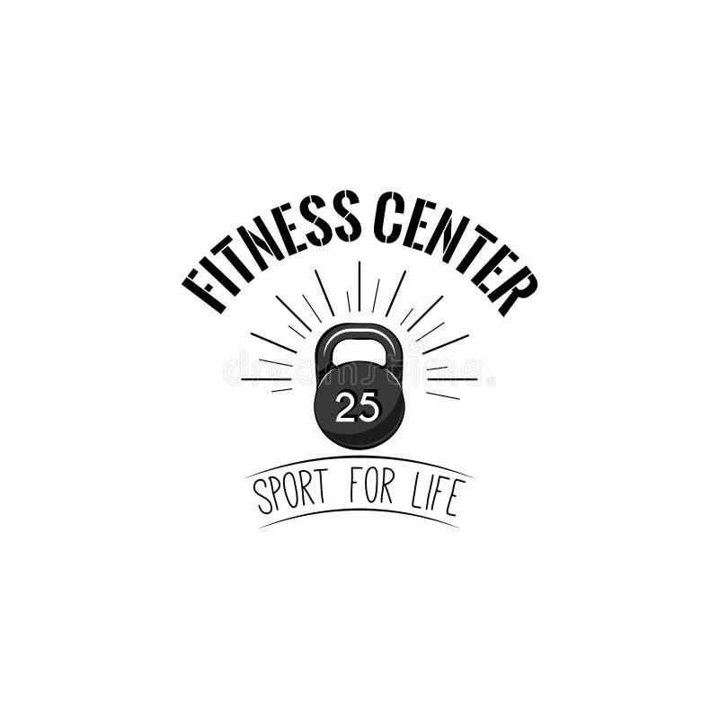 Icono de Kettlebell Etiqueta del logotipo del centro de aptitud Muestra del peso Equipo de deporte Deporte para las letras de la  ilustración del vector