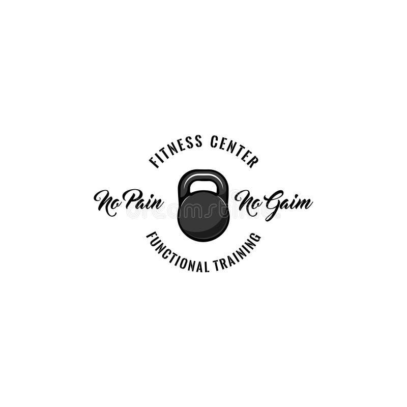 Icono de Kettlebell Etiqueta del logotipo de la insignia del centro de aptitud Ningún dolor ningunas letras del aumento Icono del stock de ilustración