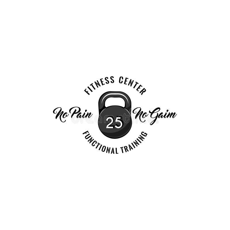 Icono de Kettlebell Etiqueta de la insignia del logotipo del centro de aptitud Texto funcional del entrenamiento Ningún dolor n libre illustration