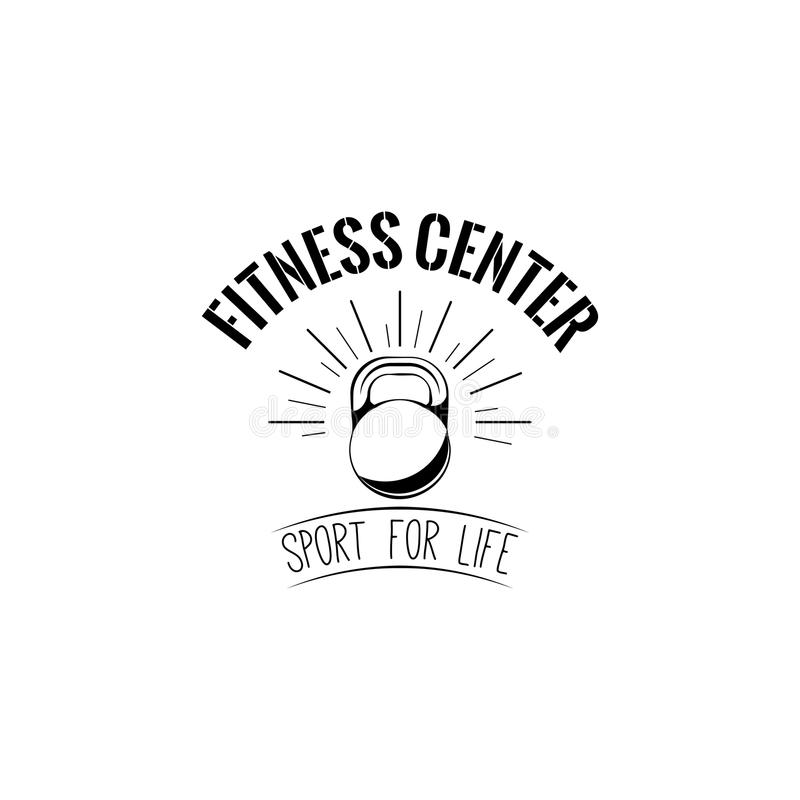 Icono de Kettlebell Logotipo del centro de aptitud Equipo de deporte Etiqueta del club de fitness emble Deporte para la inscripci stock de ilustración
