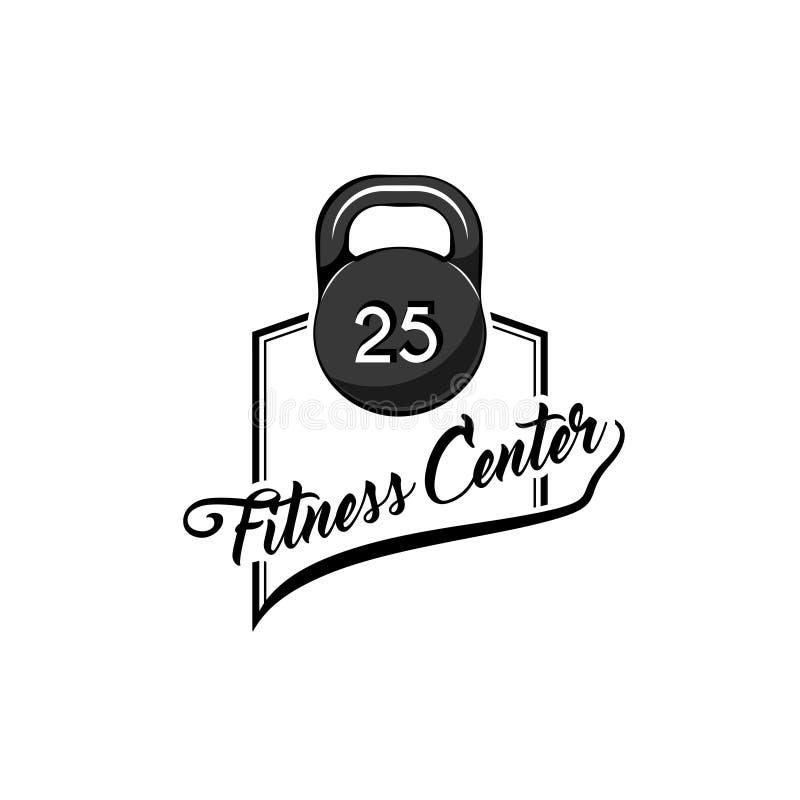 Icono de Kettlebell Logotipo del centro de Fitnees Etiqueta del club de fitness, emblema Muestra del peso Equipo de deporte Vecto stock de ilustración