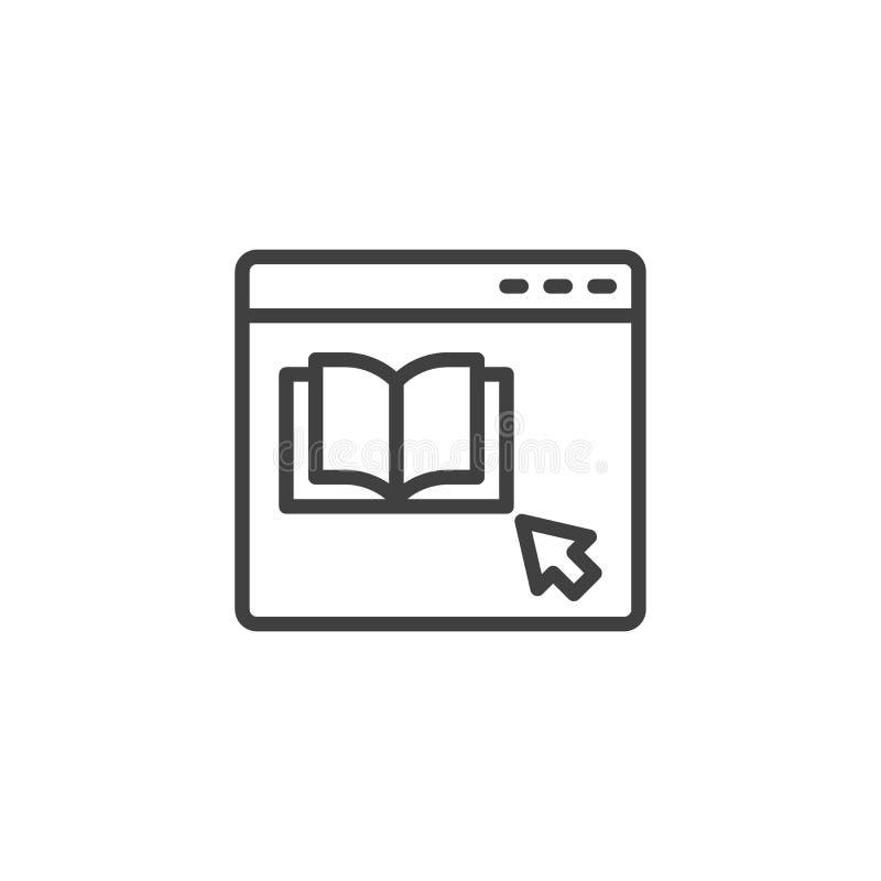 Icono de línea del sitio web de librerías ilustración del vector