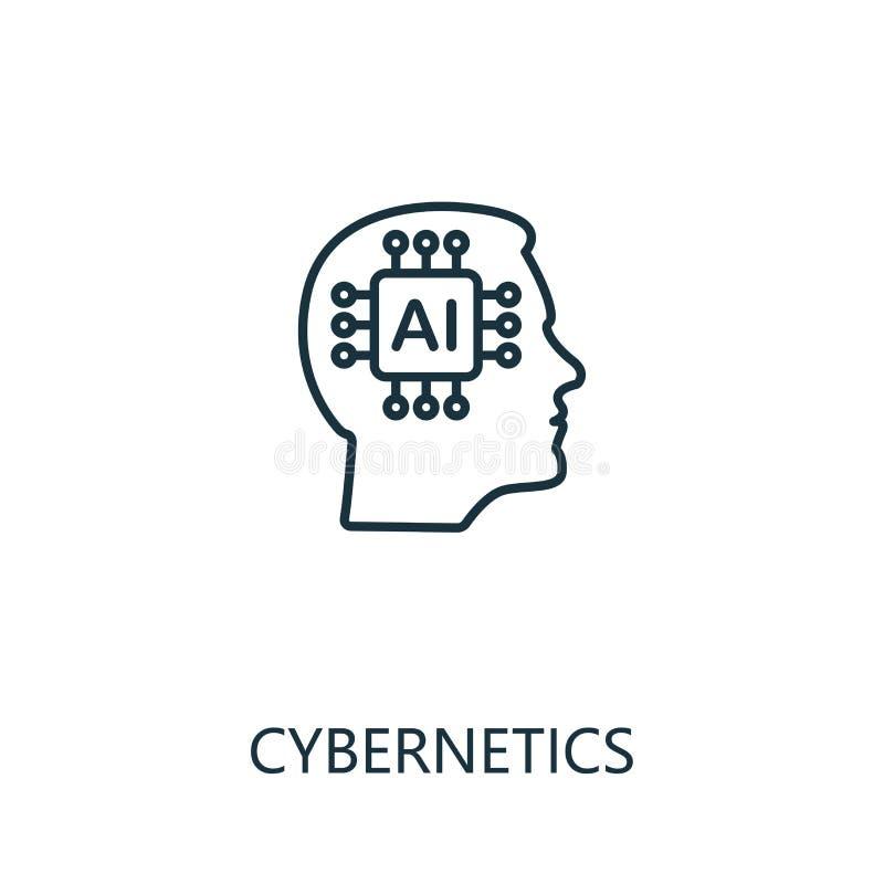 Icono de línea delgada de la cibernética Diseño creativo y simple, colección de iconos de inteligencia artificial Esbozar ciberne stock de ilustración