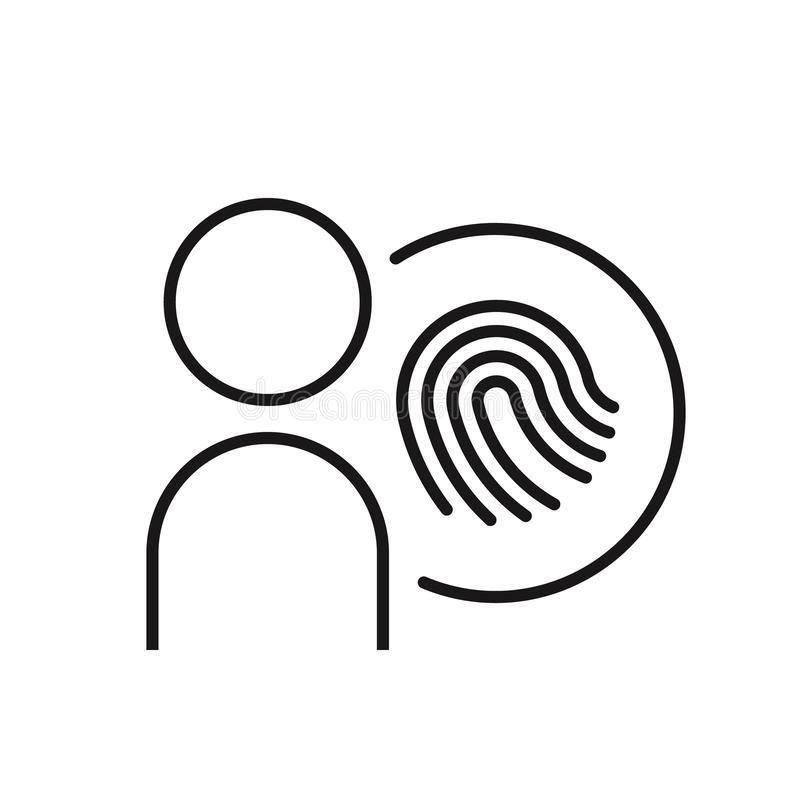 Icono de línea de protección del usuario Persona con bloqueo en círculo sobre fondo blanco Concepto de seguridad Ilustración del  stock de ilustración