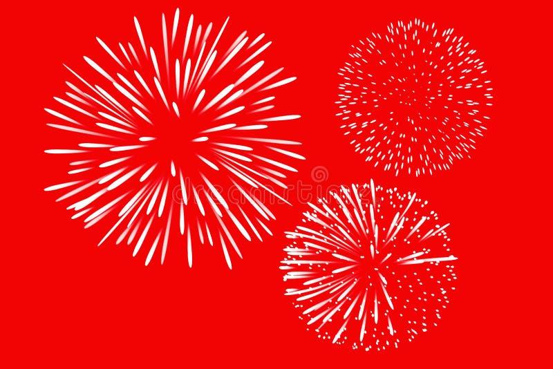 Icono de líneas de Fireworks en fondo rojo feliz año nuevo diseño de ilustración fotos de archivo libres de regalías