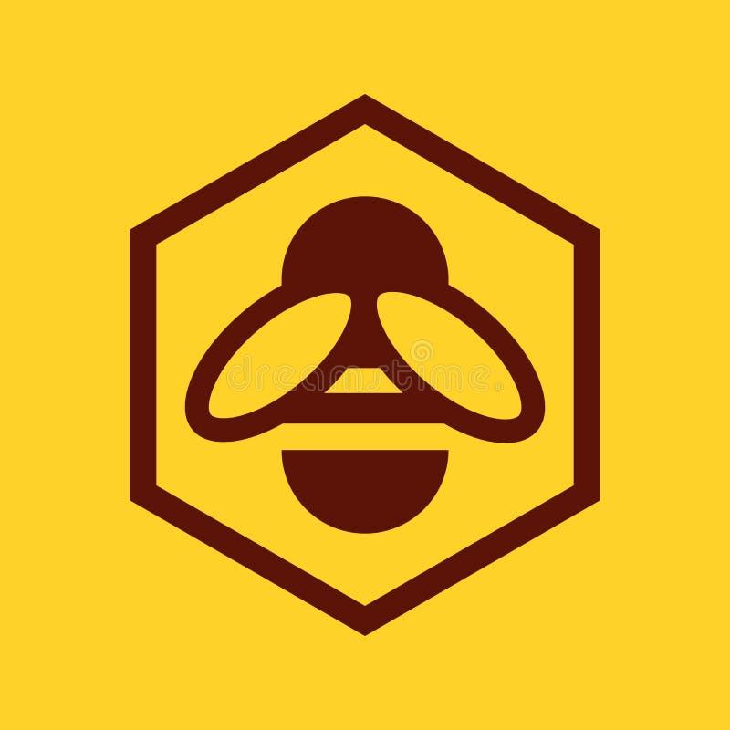 Icono de la abeja y del panal ilustración del vector