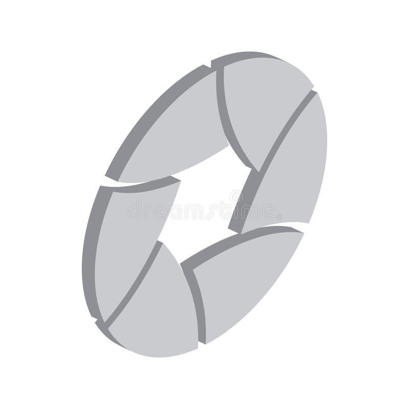 Icono de la abertura de la cámara, estilo isométrico 3d stock de ilustración