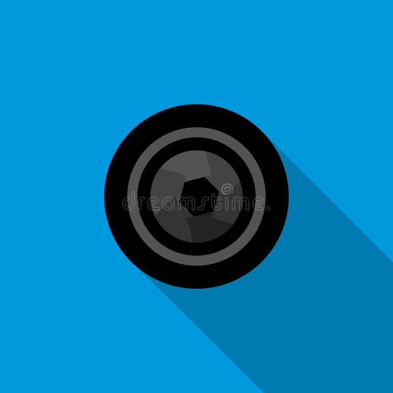 Icono de la abertura de la cámara en estilo plano stock de ilustración