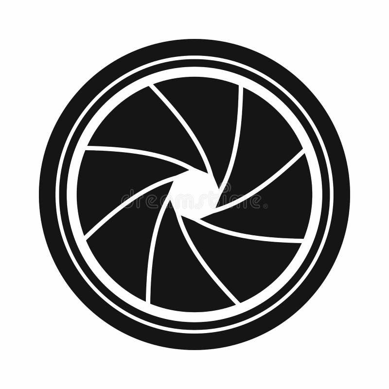 Icono de la abertura del obturador de cámara, estilo simple ilustración del vector