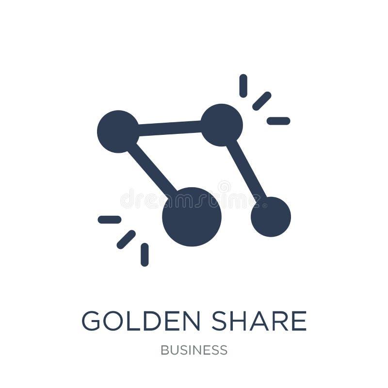 Icono de la acción de oro Icono plano de moda de la acción de oro del vector en blanco libre illustration