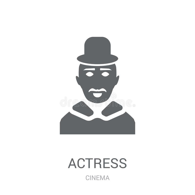 icono de la actriz Concepto de moda del logotipo de la actriz en el fondo blanco franco stock de ilustración