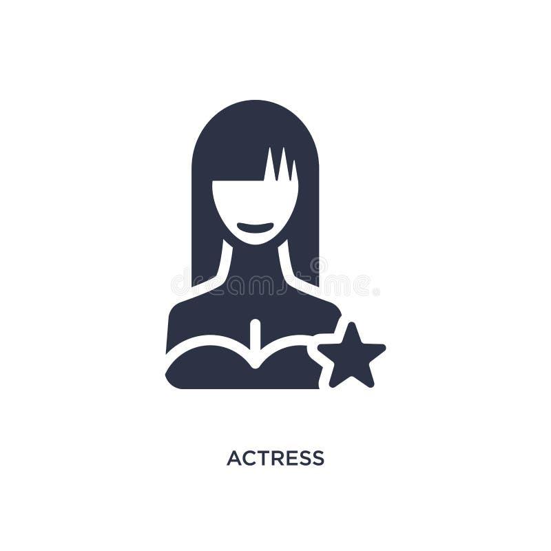 icono de la actriz en el fondo blanco Ejemplo simple del elemento del concepto del cine ilustración del vector