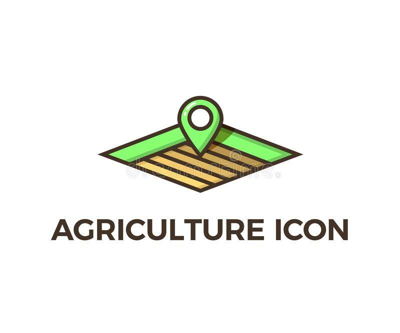 Icono de la agricultura - diversas capas de campos vacíos para el cultivo con la localización de los gps trazan símbolo Illustrat libre illustration