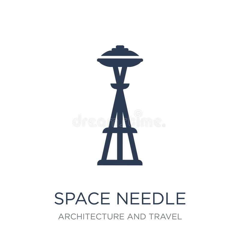 Icono de la aguja del espacio Icono plano de moda de la aguja del espacio de vector en blanco libre illustration
