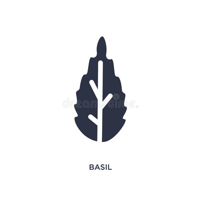 icono de la albahaca en el fondo blanco Ejemplo simple del elemento del concepto de las frutas y verduras ilustración del vector