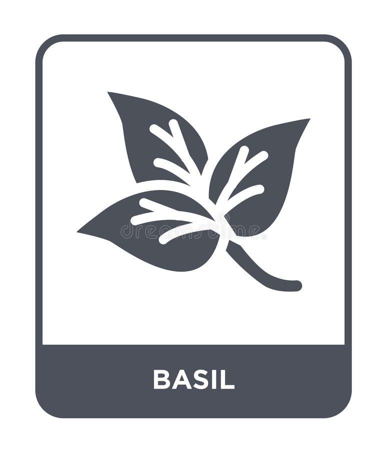 icono de la albahaca en estilo de moda del diseño icono de la albahaca aislado en el fondo blanco símbolo plano simple y moderno  ilustración del vector