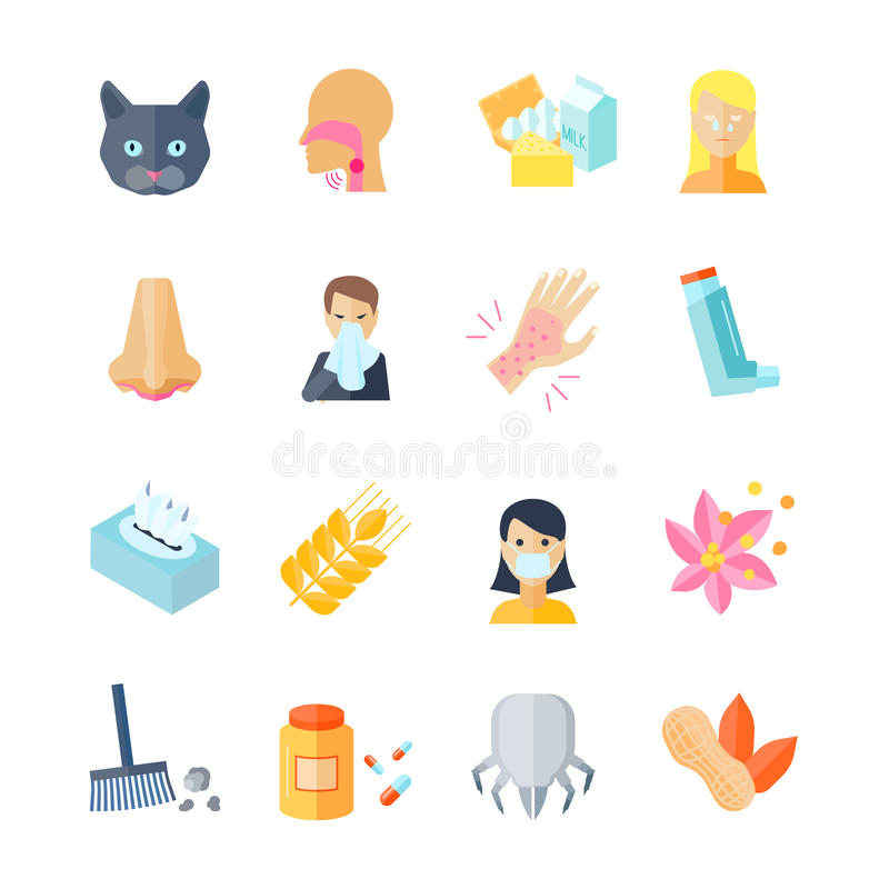 Icono de la alergia plano stock de ilustración