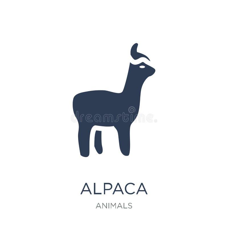 Icono de la alpaca Icono plano de moda de la alpaca del vector en el fondo blanco libre illustration