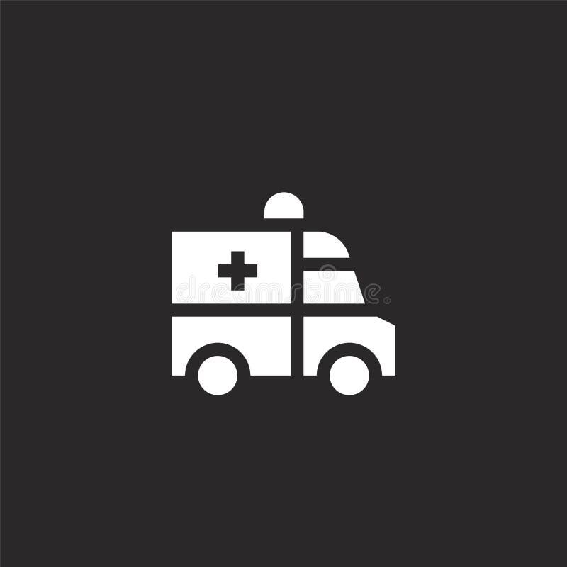 Icono de la ambulancia Icono llenado de la ambulancia para el diseño y el móvil, desarrollo de la página web del app icono de la  ilustración del vector
