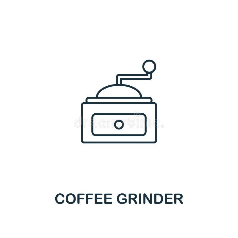 Icono de la amoladora de café Línea fina diseño del símbolo de la colección del icono de la tienda del coffe UI y UX Icono simple stock de ilustración
