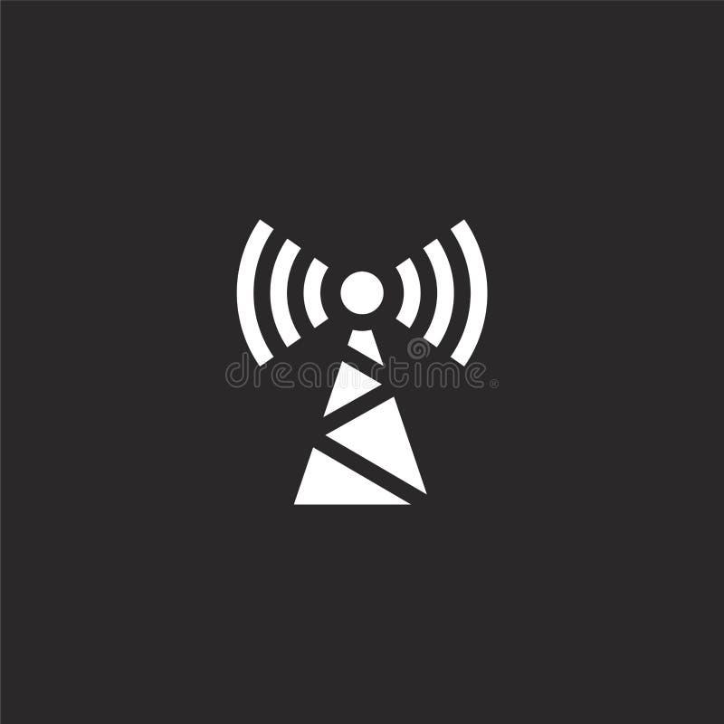 Icono de la antena Icono llenado de la antena para el diseño y el móvil, desarrollo de la página web del app icono de la antena d stock de ilustración