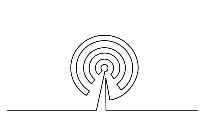 Icono de la antena de los Wi Fi en el fondo blanco ilustración del vector