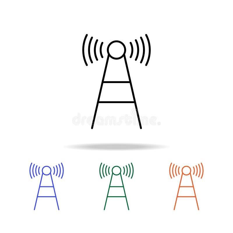 icono de la antena de onda Elementos del icono simple de la web en multicolor Icono superior del diseño gráfico de la calidad Ico stock de ilustración