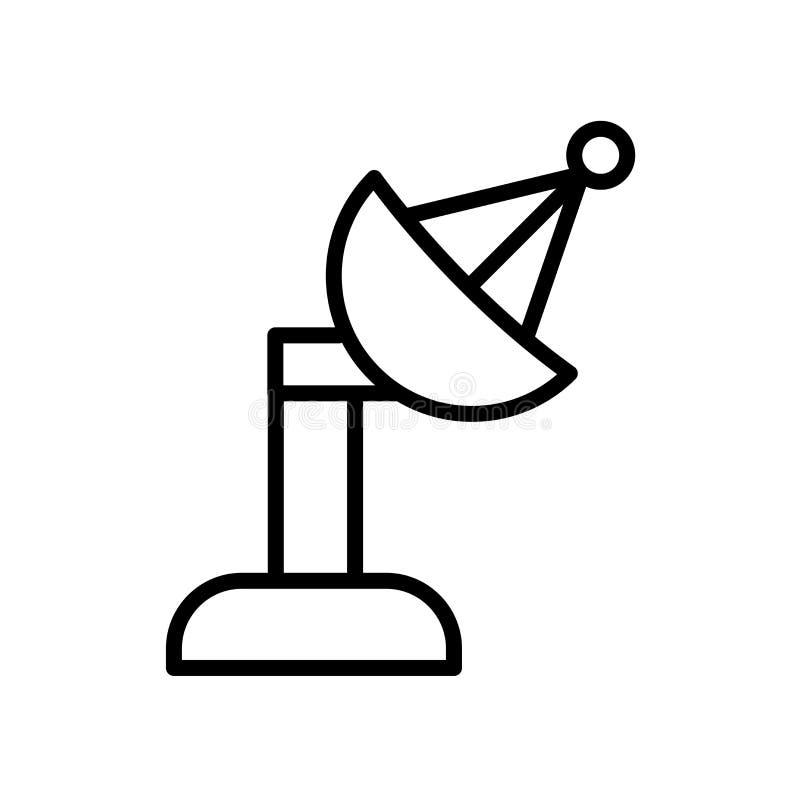 Icono de la antena parabólica aislado en el fondo blanco fotografía de archivo