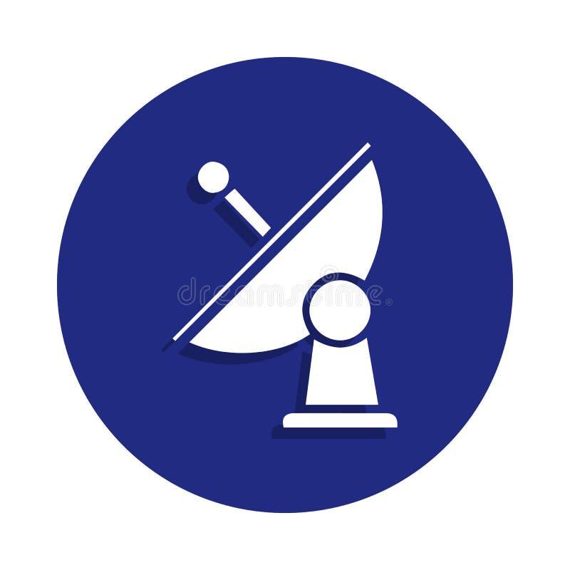 Icono de la antena parabólica en estilo de la insignia Uno del icono de la colección del espacio se puede utilizar para UI, UX foto de archivo libre de regalías