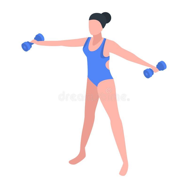 Icono de la aptitud de las mujeres de la aguamarina, estilo isométrico stock de ilustración