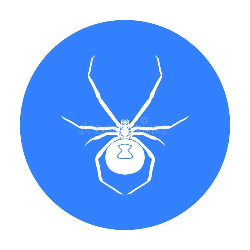 Icono de la araña de la viuda negra en estilo negro aislado en el fondo blanco Ejemplo del vector de la acción del símbolo de los libre illustration