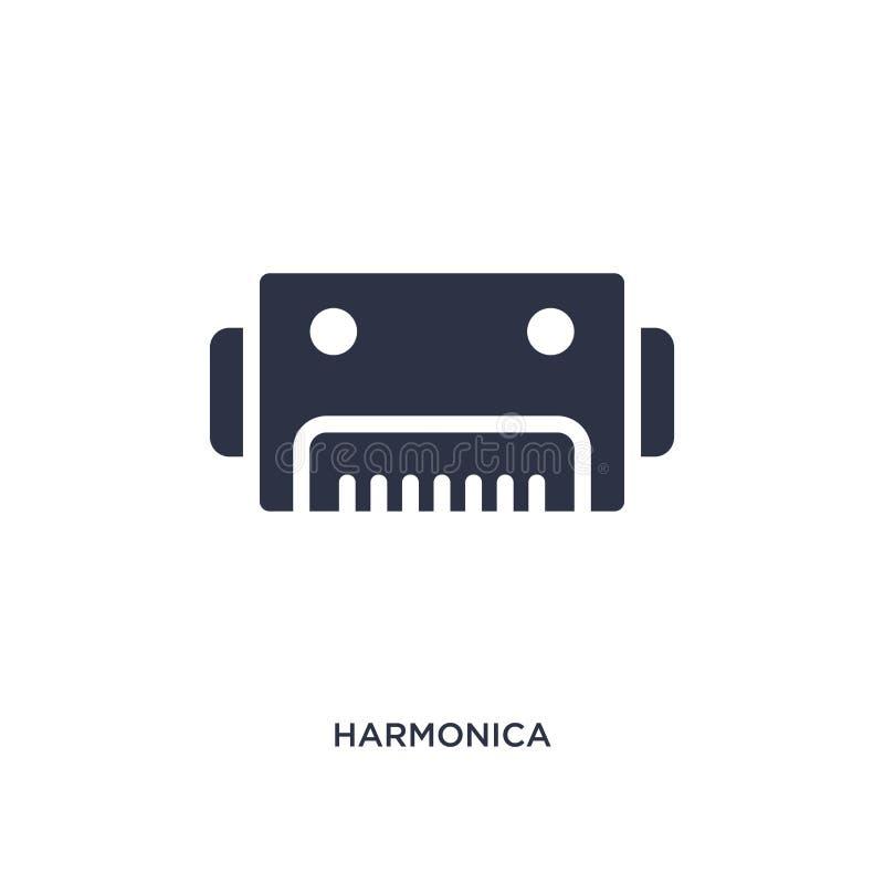 icono de la armónica en el fondo blanco Ejemplo simple del elemento del concepto de la música stock de ilustración