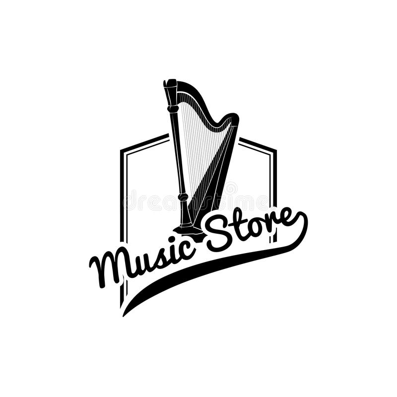 Icono de la arpa Emblema de la etiqueta del logotipo de la tienda de la música Instrumento musical Vector stock de ilustración