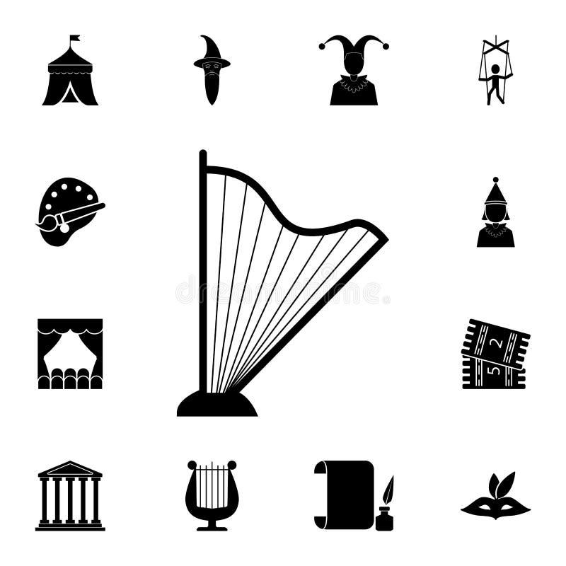 Icono de la arpa Sistema detallado de iconos del teatro Diseño gráfico superior Uno de los iconos de la colección para los sitios ilustración del vector
