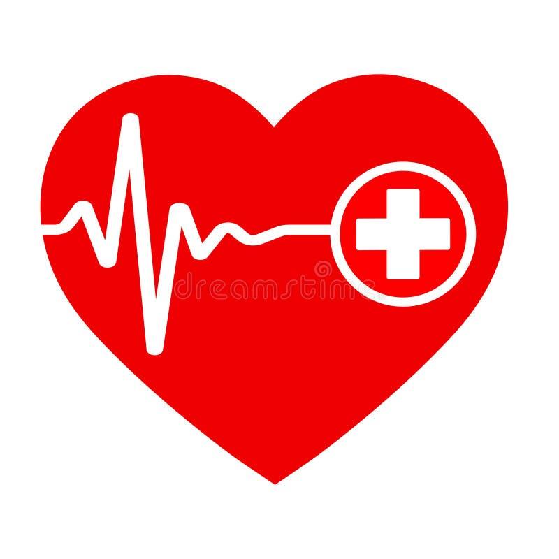 Icono de la atención sanitaria, cruz blanca en corazón rojo libre illustration
