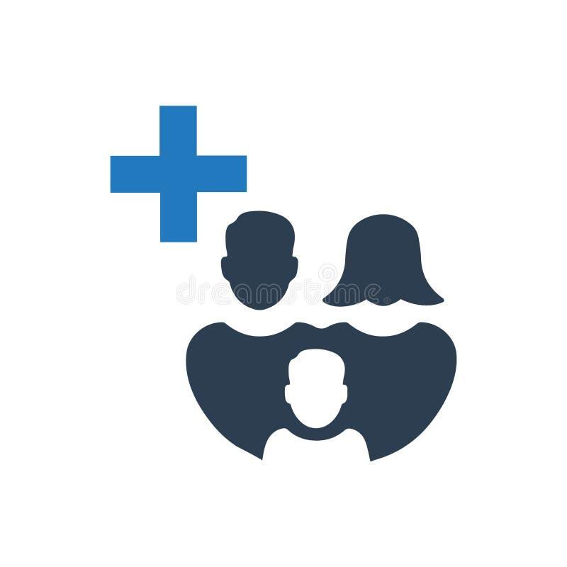 Icono de la atención sanitaria de la familia stock de ilustración