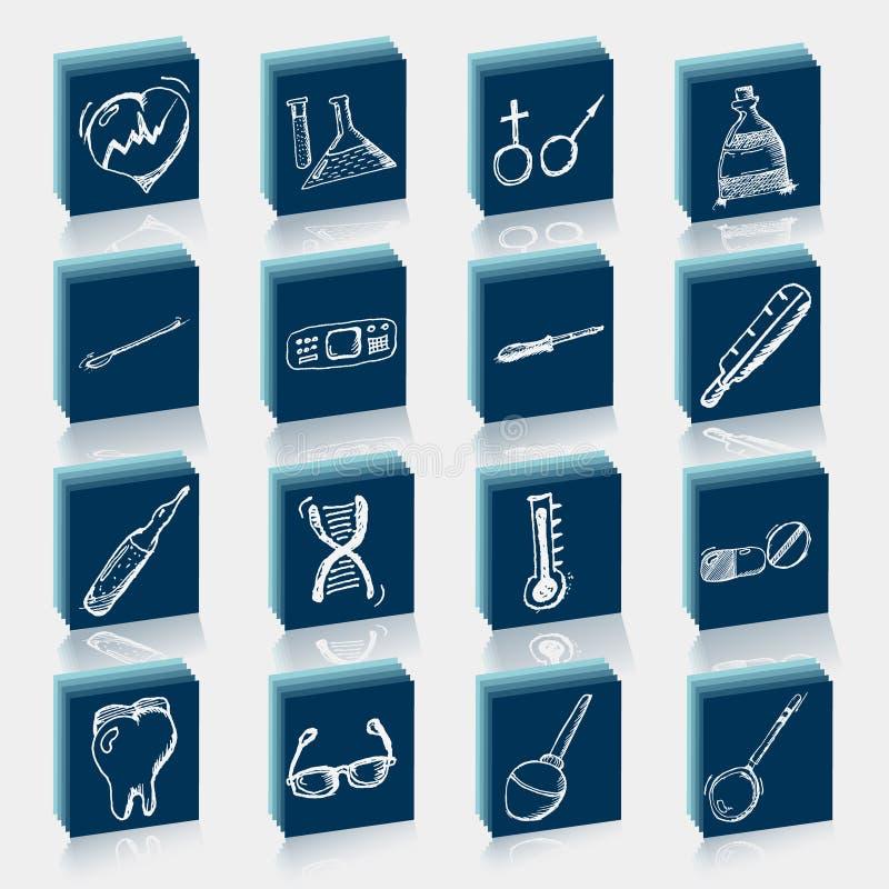 Icono de la atención sanitaria y de la medicina fijado con tipografía stock de ilustración