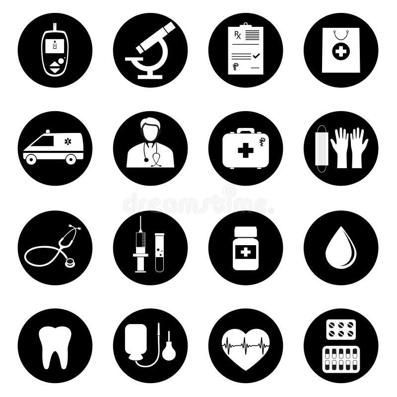 Icono de la atención sanitaria y de la medicina fijado con tipografía libre illustration