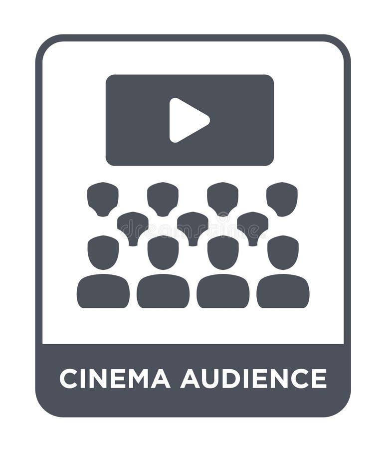 icono de la audiencia del cine en estilo de moda del diseño icono de la audiencia del cine aislado en el fondo blanco icono del v stock de ilustración
