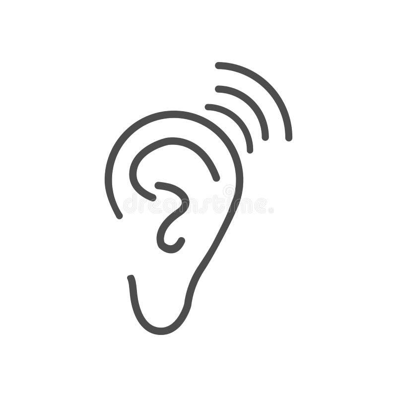 Icono de la audiencia del oído Ejemplo del vector, diseño plano stock de ilustración